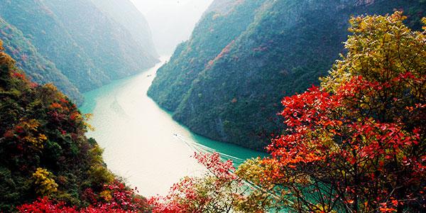 三峡风景图片手绘